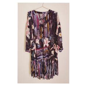 Anthropologie Blank london Dress Floral Blue Sz 1x